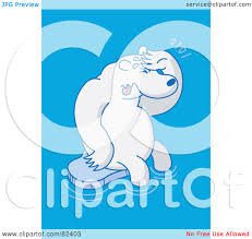 royalty free rf clipart illustration of a sad cartoon polar bear