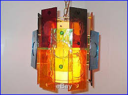 mid century modern retro hanging swag lamp light colorful lucite