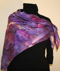 Hues Of Purple Unique Hand Painted Silk Scarves Featuring Multicolored Splashes