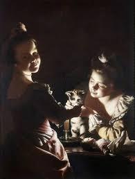 File Joseph Wright Of Derby Two Girls Dressing A Kitten By