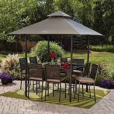 outdoor patio table seats 10 mainstays d apos roma 10 piece gathering height patio dining set