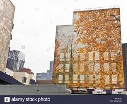 trompe l oeil mural on blank wall of west side manhattan building stock photo trompe l oeil mural on blank wall of west side manhattan building with windows reflecting autumn leaves on interlaced branches