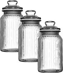 glass kitchen storage canisters set of 3 1300ml large new vintage glass kitchen tea coffee sugar