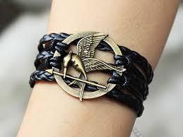 fashion braided bracelet images Mockingjay pin bracelet black leather bracelet hunger games jpg
