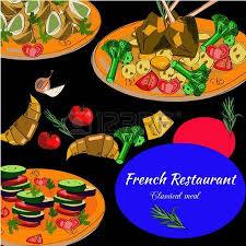 french cuisine horizontal banners food menu design vector drawn