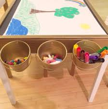 Play Table With Storage And Chairs Our Ikea Latt Hack Art Table Vinyl Upholstered Seats Chalkboard