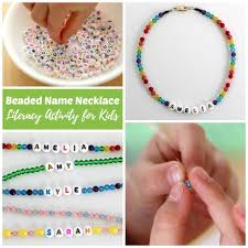 beaded name bracelets beaded name necklace literacy activity for kids rhythms of play