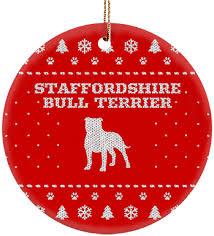 staffordshire bull terrier ceramic circle ornament