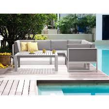 canapé d angle de jardin salon de jardin canapé d angle et table basse aluminium blanc