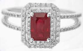 red emerald rings images Ruby ring emerald cut ruby and diamond ring in 14k white gold jpg