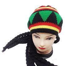 Rasta Man Halloween Costume Men Knitted Rasta Hat Dreadlocks Wig Jamaican Fancy Dress