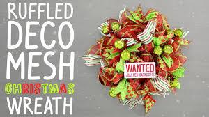 ruffled deco mesh christmas wreath youtube