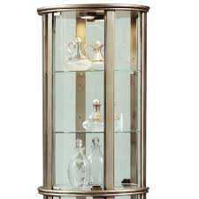Curio Cabinet Accent Lighting Amazon Com Pulaski Glass Door Curio Silver Kitchen U0026 Dining