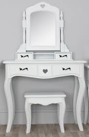wooden dressing table with drawer and mirror on curvy wooden