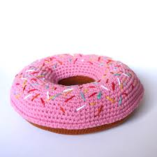 Cushion Donut I Scream For Sprinkle Donut Crochet Cushion