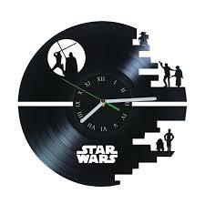 Star Wars Office Decor Death Star Jedi Vinyl Clock Star Wars Birthday By Puffpuffdesign