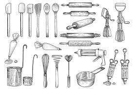 outil cuisine la cuisine outil ustensile vecteur dessin gravure illustration