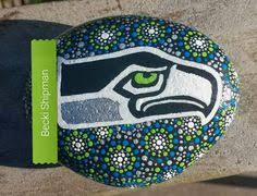 hand painted seattle seahawks rocks rocks pinterest rock
