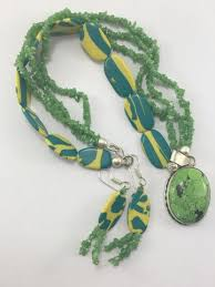 green stone necklace set images Green coral turquoise pendant green stone necklace set with tassel jpeg