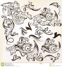 vector set of swirl ornaments for vintage design stock