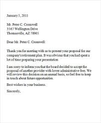 Decline Letter To Bid 8 Business Rejection Letters Free Sle Exle Format