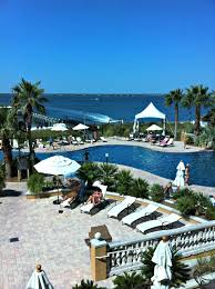Vacation Homes In Pensacola Beach Palm Lined Pool And Stunning View At Portofino Island Resort In