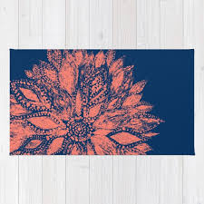 Modern Floral Area Rugs Blue Coral Flower Area Rug Floral Area Rug Modern Flower