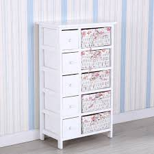 White Bedroom Drawer Units Uenjoy White Chest Of Drawers Wicker Storage Unit With 5 Woven U0026 5