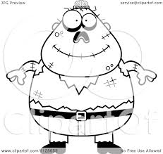 cartoon clipart of an outlined happy halloween zombie black and