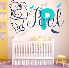 popular baby wall sticker custom name buy cheap wall decals baby winnie the pooh feathers vinyl sticker custom personalized name girl boy bedroom