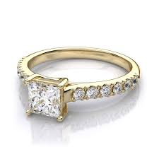 white gold engagement ring yellow gold wedding band princess cut diamond trellis setting in 18k yellow gold