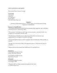 Resume Objective For Restaurant Cover Letter Restaurant Server Resume Example Restaurant Server