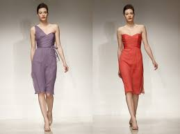 purple and orange wedding dress one shoulder lavender grey bridesmaid dress and strapless orange