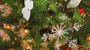 tree with blinking lights snowflake ornaments and
