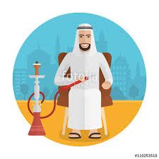 Cartoon Armchair Vector Arabian Man Smoking Hookah Smoking Cartoon Man Sitting In
