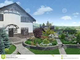 front yard landscape design 3d render stock illustration image