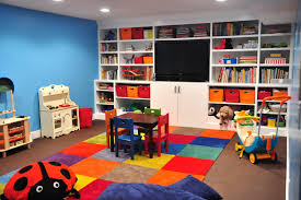 white kids playroom with wooden shelf in every corner of wall