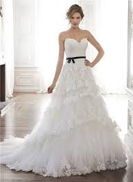 black sash a line strapless tulle lace tiered wedding dress with black sash