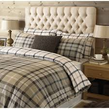 check brushed cotton duvet cover set in natural brown shades reversible