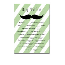 baby mad libs baby shower green mustache activity mad libs