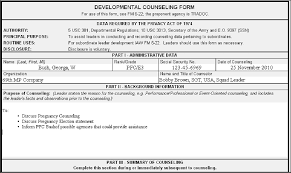 Counseling Form 4856 Fillable Army Pregnancy Counseling Exle Soldier Counseling