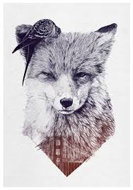 unique black and grey fox head tattoo design