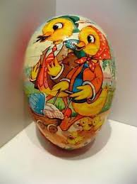 german paper mache easter eggs vtg west germany paper mache easter egg candy container w duck