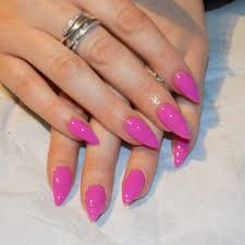 neon pink gel polish over acrylic nails glow in the dark from