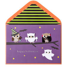halloween greeting cards handmade spooky owls on branch halloween cards papyrus