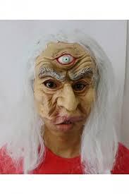 beige grim three eyed old man latex halloween mask pink queen