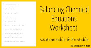 balancing chemical equations worksheet stem sheets