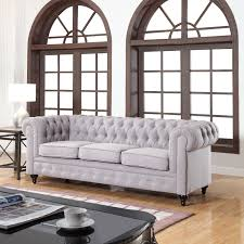 sofas chesterfield style classic linen fabric scroll arm tufted button chesterfield style