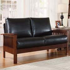 Brown Leather Loveseat Homelegance Mission Loveseat