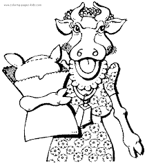 cow with clothes color page